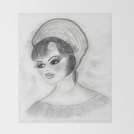 Flapper Girl in cap Throw Blanket