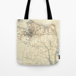 Vintage Map of Norfolk and Virginia Beach (1891) Tote Bag