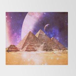 Galaxy Pyramids Throw Blanket