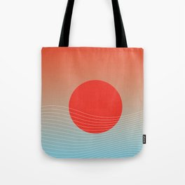 Red sun & white waves Tote Bag