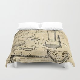 Ice Cream Scoop Blueprint Industrial Farmhouse Duvet Cover