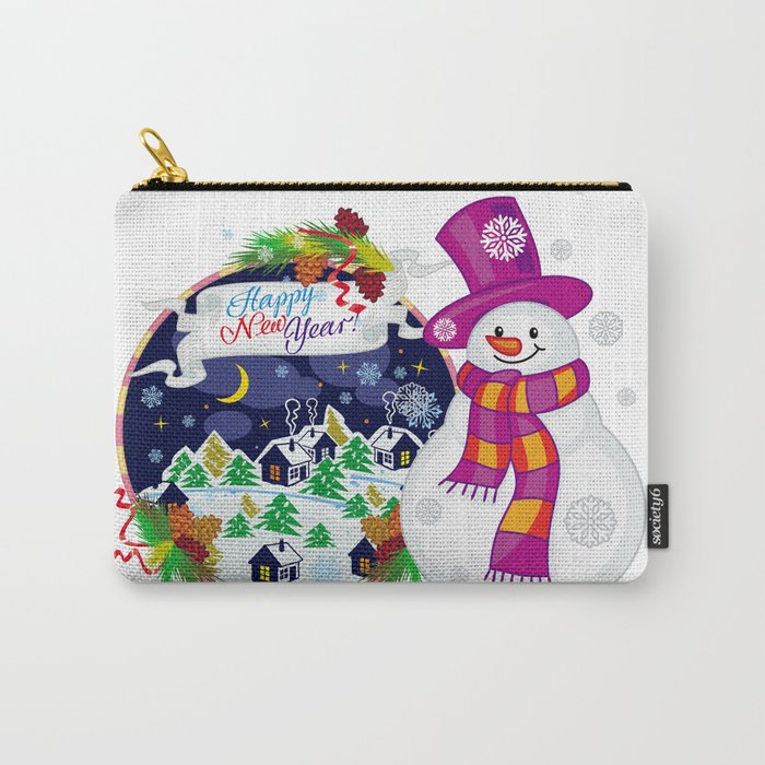 Cheerful snowman waiting for a holidays Carry-All Pouch