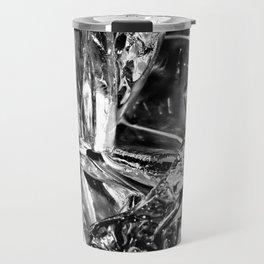 Black White Ice Abstract Travel Mug