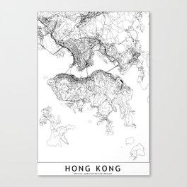 Hong Kong White Map Canvas Print