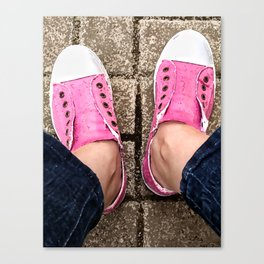 Pink sneakers. Canvas Print