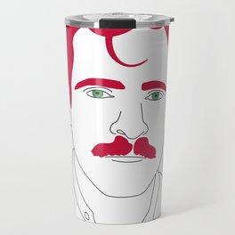 Blue-tooth pink mustache guy Travel Mug