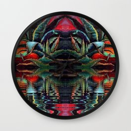 SURREAL DESERT AGAVE & BLUE DRAGONFLIES REFLECTIONS Wall Clock