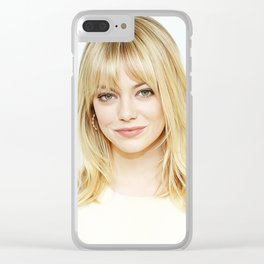 Emma Stone - Realistic Painting Clear iPhone Case