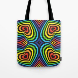 Three-dimensional volumetric pattern. colorful rainbow on black background Tote Bag