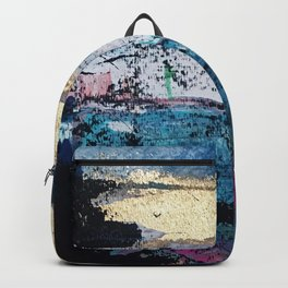 Twilight: a beautiful, abstract watercolor + mixed-media piece in blue, gold, purple, pink, + black Backpack