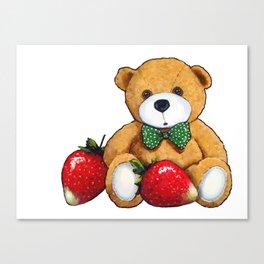 Teddy Bear With Strawberries, Illustration Canvas Print