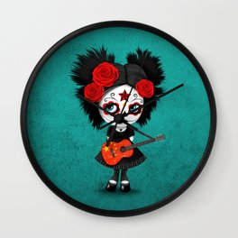 Day of the Dead Girl Playing Chinese Flag Guitar Wall Clock