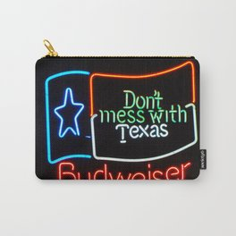 Don't Mess With Texas - Neon Beer Sign Carry-All Pouch