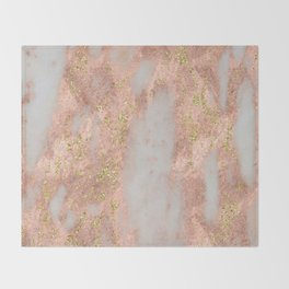 Rose Gold Marble with Yellow Gold Glitter Throw Blanket