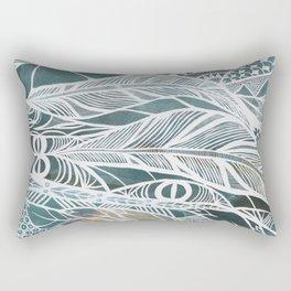 Feathery Design in Emerald Green Rectangular Pillow