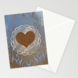 Brown Heart Stationery Cards