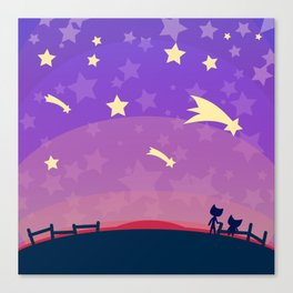 Starry sunset seen by cats Canvas Print