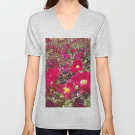 Red Flowers Unisex V-Neck