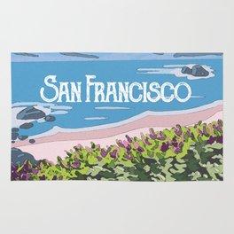 San Francisco, California Beach Succulents Illustration Rug