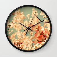 black Wall Clocks featuring Pink by Olivia Joy StClaire