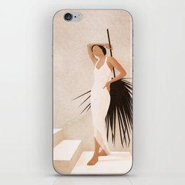 Minimal Woman with a Palm Leaf iPhone Skin