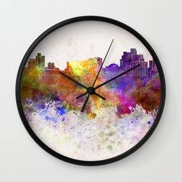 Reno skyline in watercolor background Wall Clock