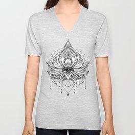Lotus flower + All seeing eye. Unisex V-Neck