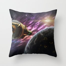 Space travel around planet Throw Pillow