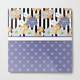 Floral pattern With textured polka dots. Metal Print
