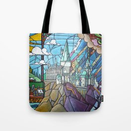 Hogwarts stained glass style Tote Bag