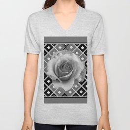 Art Deco White Rose Black-White-Grey Art Unisex V-Neck