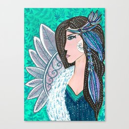She Wore Feathers In Her Hair Canvas Print