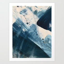 Against the Current [2]: A bold, minimal abstract acrylic piece in blue, white and gold Art Print