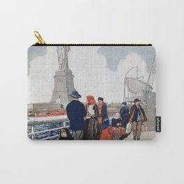 Vintage Immigrants & Statue of Liberty Illustration (1917) Carry-All Pouch