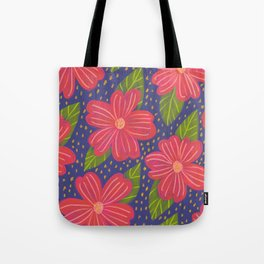 red flowers navy background pattern Tote Bag