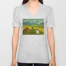 Kawase Hasui Vintage Japanese Woodblock Print Beautiful Mountain Valley Farmland Yellow Hues Unisex V-Neck