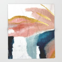 Exhale: a pretty, minimal, acrylic piece in pinks, blues, and gold Throw Blanket