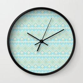 Vintage orange teal stylish cross stitch pattern Wall Clock