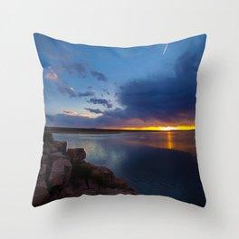 Bluewater Lake Sunset Throw Pillow