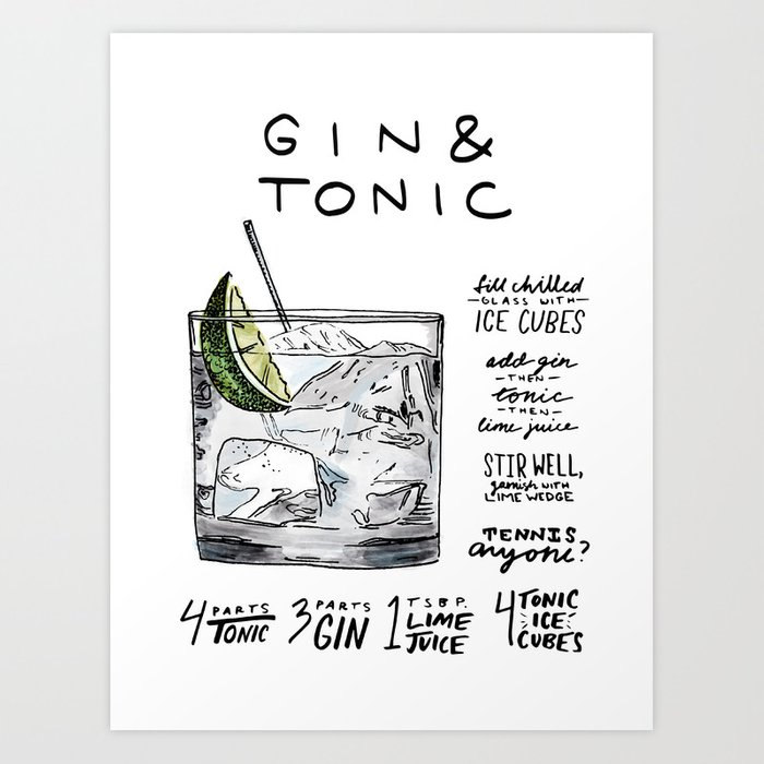 The Drink Collective: Gin and Tonic Art Print