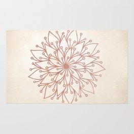 Mandala Rose Gold Petals on Cream Rug