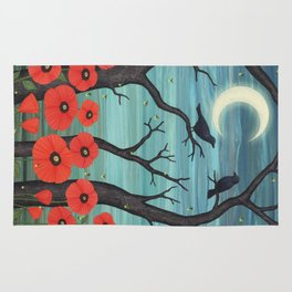 crows, fireflies, and poppies in the moonlight Rug
