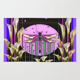 Purple Art Nouveau Calla Lilies Dragonfly Art Rug