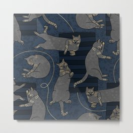 Lounging Cats On Terrazzo - Blue Metal Print