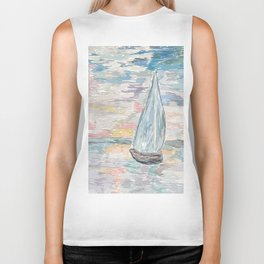 Bateau at Sunset Biker Tank