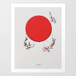 Koi and Sun Art Print