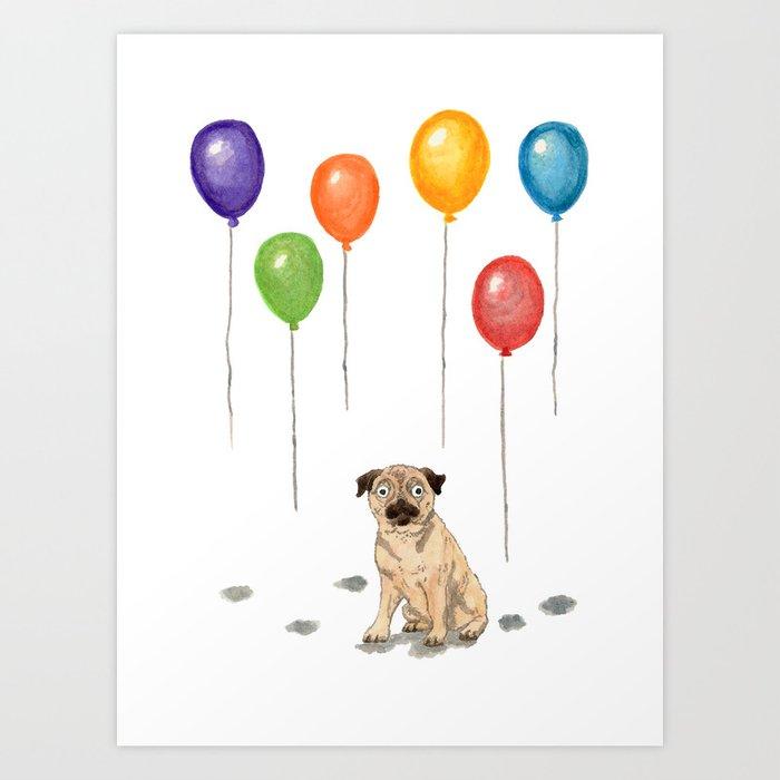 Pug with balloons Art Print