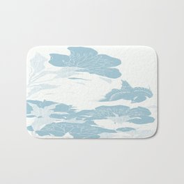 japanese Flowers White and Blue Bath Mat