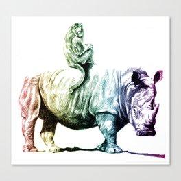 Golden Monkey on a Rainbow Rhino by Aaron Bir Canvas Print