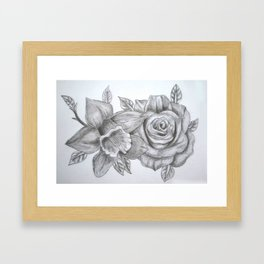 Daffodil and Rose  Framed Art Print